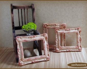 Cornice di casa delle bambole in miniatura, in miniatura dollhouse, arredamento shabby chic dollhouse, telaio in miniatura