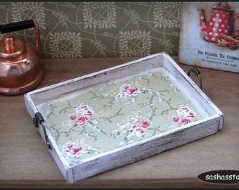 Miniature wooden tray, shabby miniature, kitchen accessory, distressed wood, dollhouse kitchen