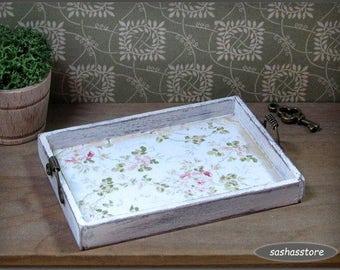 Miniature dollhouse tray, shabby chic miniature, kitchen accessory, handcrafted miniature
