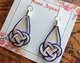 Awaji knot earrings -blue-