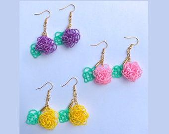 Dangle flower earrings, pink/yellow/purple