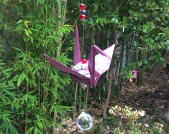 Origami crane suncatcher  (plum flower)