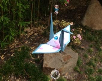 Origami crane suncatcher, mobile (cherry blossom)