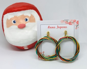 Christmas wreath earrings / paper cord earrings / mizuhiki / sterling silver studs / hoop earrings