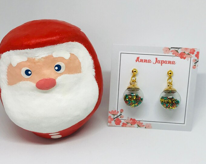 Glass ball Christmas earrings