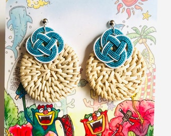 woven rattan earrings, blue and white
