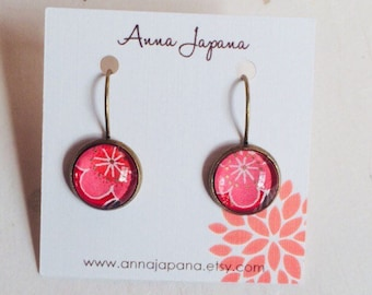 Pink flower earring