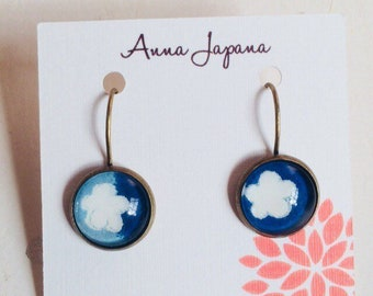 Blue and flower earrings