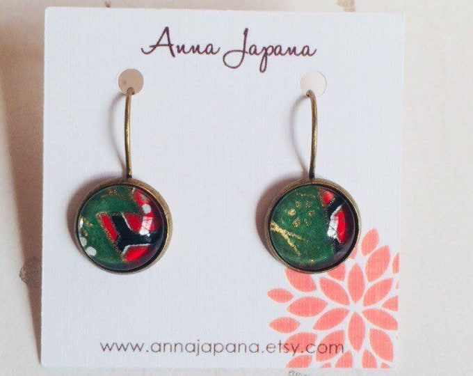 X'mas chiyogami earrings