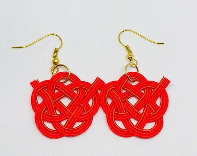 Camellia flower knot earring, Red