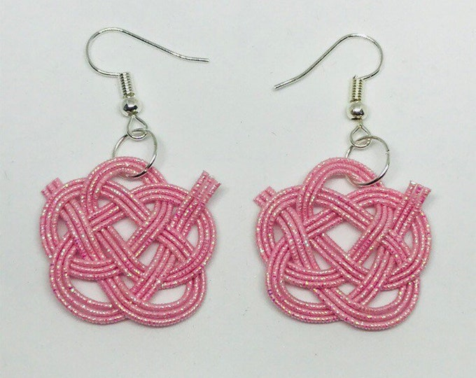 Camellia flower knot earring pink
