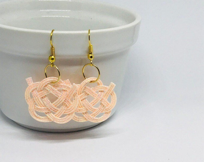 Camellia flower knot earring, peach