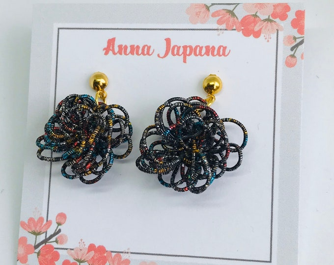 Black flower earrings/hook or studs