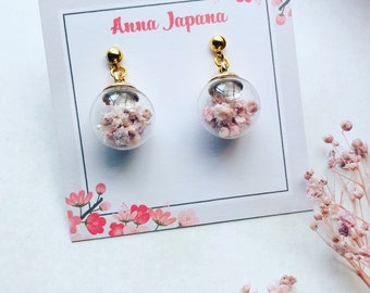 Glass Dome earrings Pink
