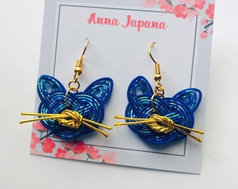 Purple / Dark blue cats earrings