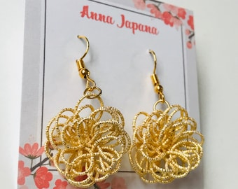 Gold flower earrings / hook or studs