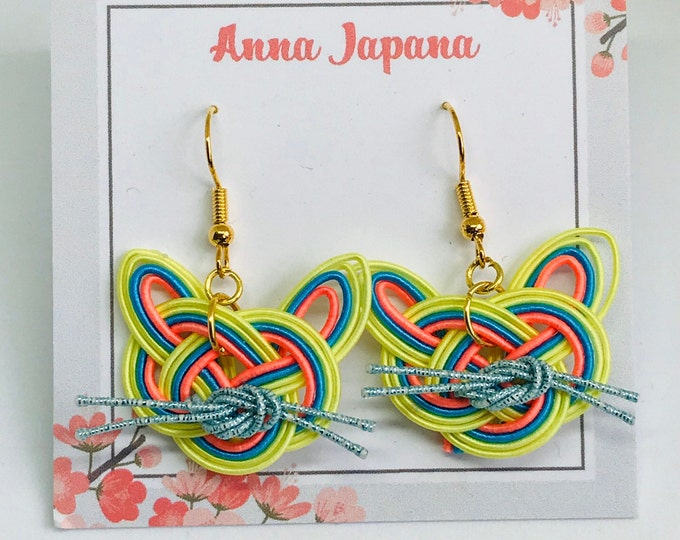 yellow x blue cat earrings