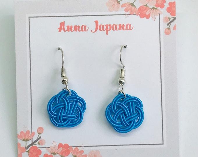 Plum flower / small size / blue earrings/ mizuhiki earrings / knotting earrings