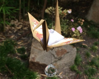 Origami crane suncatcher (maple)