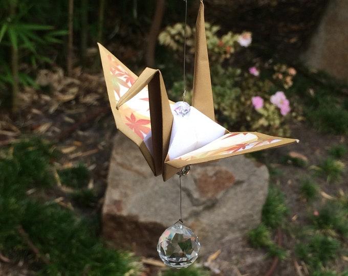 Origami crane suncatcher (maple)