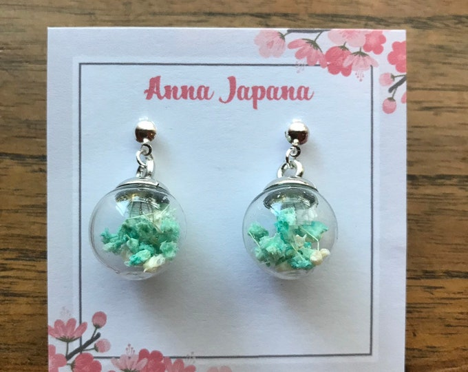 Glass Dome earrings Green x White