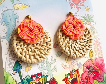 woven rattan earrings, salmon pink and yellow