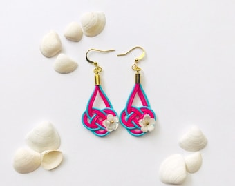 The Winds of Okinawan colours  <blue x pink with natural white pearl flower>