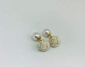 Ball knot earrings <shiny silver>