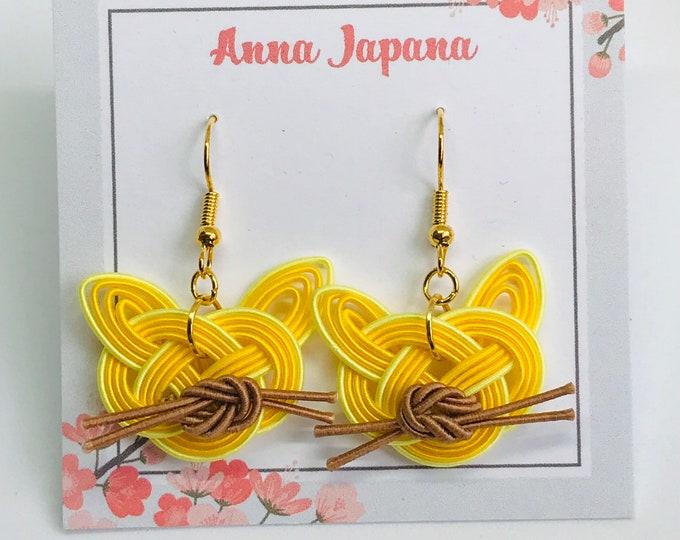 Cat earrings yellow