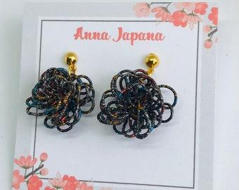 Black flower earrings/hook or studs