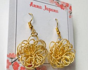 Gold flower earrings / hook or studs