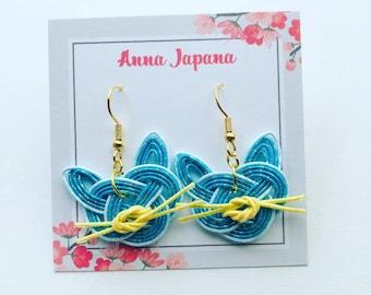 Blue cats earrings