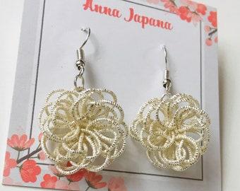 Silver flower earrings / hook or studs