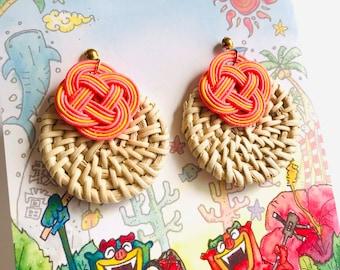 woven rattan earrings, salmon pink and yellow