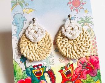 woven rattan earrings, shiny white