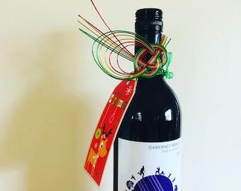Bottle decoration, bottle charm, wine bottle ,sake bottle, home decor, Christmas gift