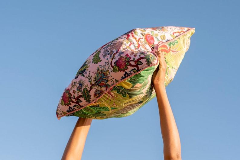 Large Silk Cushion in Reversible Print  EdenSerendipity