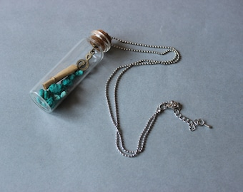 Retro music pendant Glass bottle with treble clef charm and green stones music lover Long necklace with letter in a bottle boho jewelry