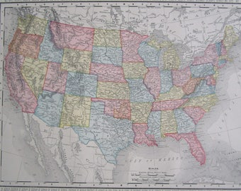 Vintage Us Map Etsy - Us-map-1800s