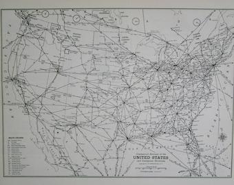 Vintage Us Maps Etsy - Vintage aviation maps