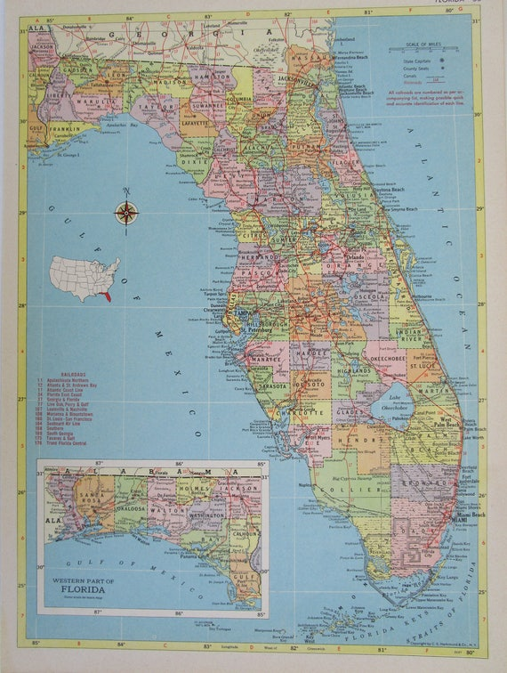 Florida Railroad Map.Vintage 1955 Florida Railroad Map 8x11 1950s Fec Florida Etsy