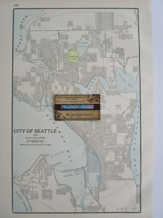 1901 Seattle Wa Map Genuine Turn Of The 20th Century 1900s Etsy