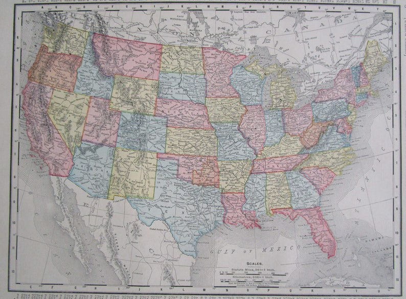 1895 Dated United States Us Map 11x14 Vintage Original 1800s Etsy - Us-map-1800s