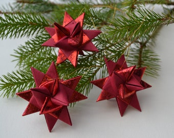 red danish stars set of 3 origami stars christmas star decoration