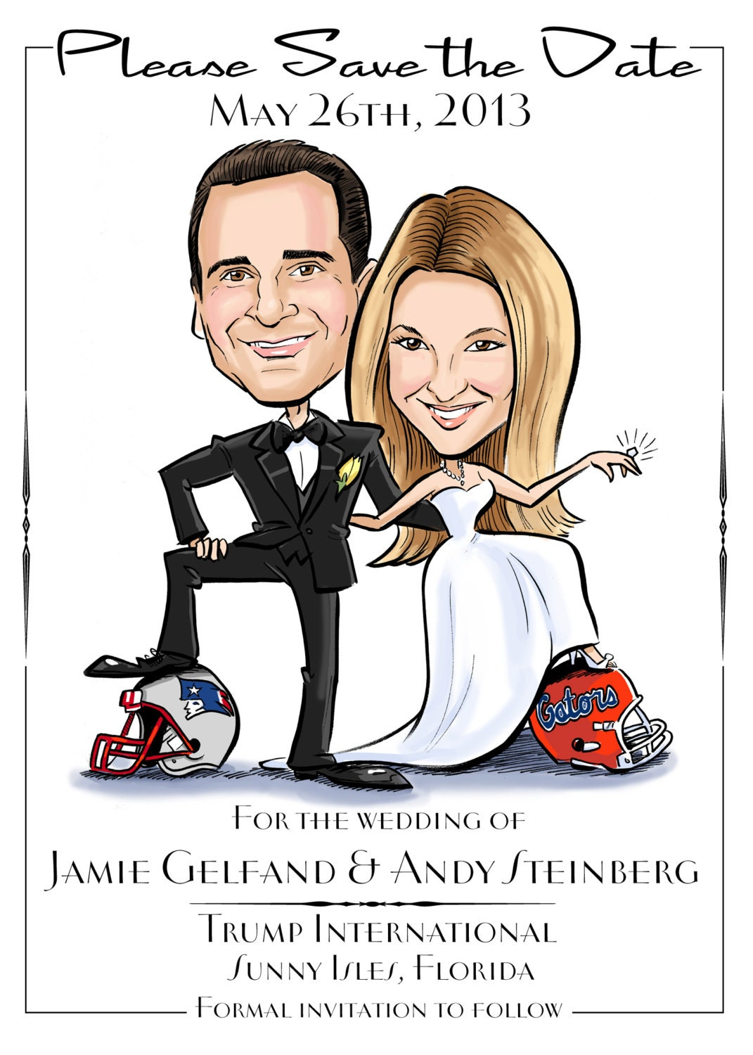 Caricature Wedding Save the Date for Sports Lovers | Etsy