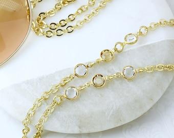 Swarovski Topaz Gold Eyeglass Chain, Glasses Chain, Designer Eyeglass Chain, Sunglasses Cord, Sunglasses Holder, Gold Eyewear, Gold Lanyard