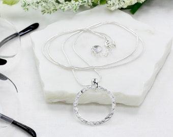 Silver Eyeglass Holder Loop, Silver Eyeglass Chain, Silver Snake Chain Eyeglass Necklace, Minimalist Sunglasses Chain, maetri, gift for her