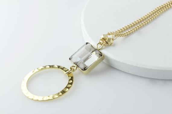 Chaîne en or cristal lunettes longe collier porte de   Etsy 7533c9347841