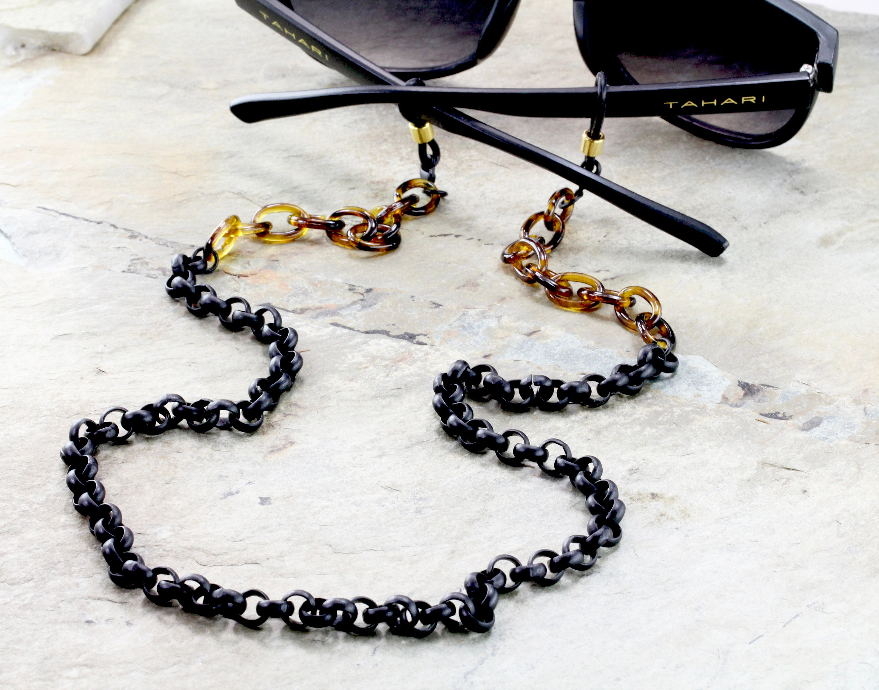 59cb5b3b626a Tortoise Eyeglass Chain with Matte Black Chunky Chain