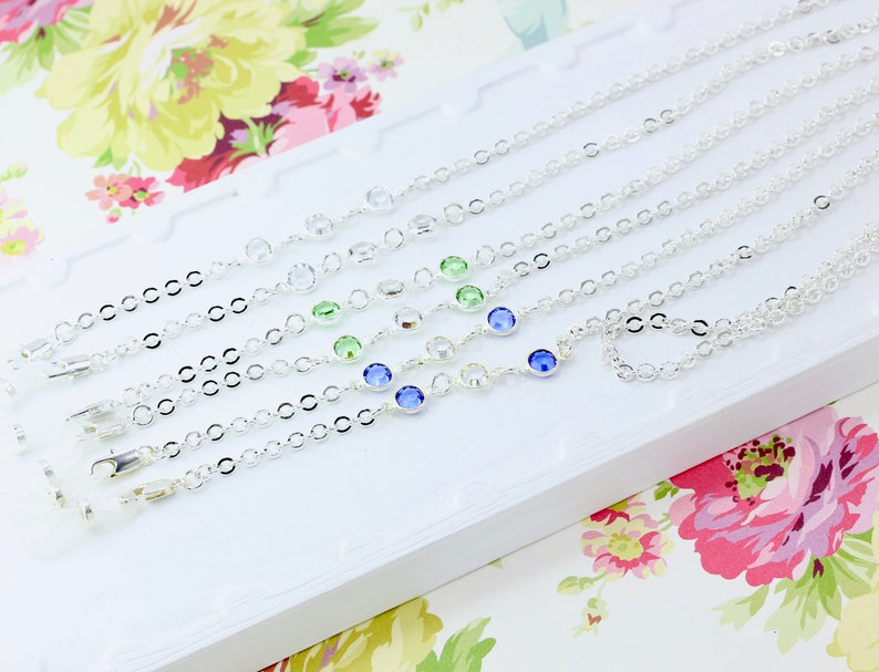 Silver Swarovski Eyeglass Chain, Designer Birthstone Glasses Chain, Personalized Sunglasses Holder, Silver Eyeglass Holder Necklace, maetri